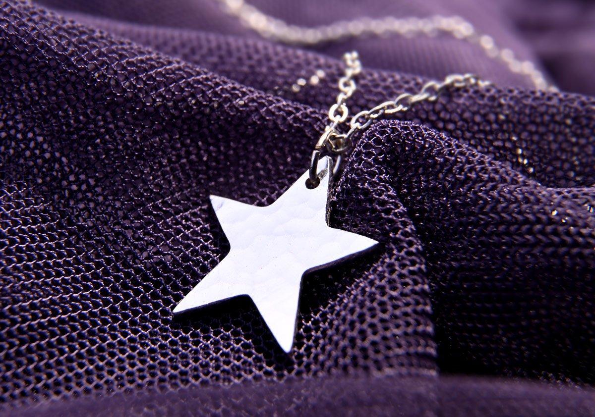 Silver Necklace purple 2